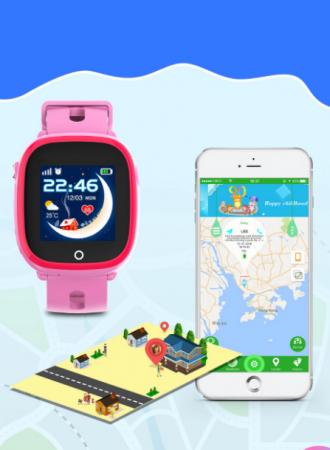 Ceas Smartwatch cu GPS pentru copii, Aplicatie Telefon, Impermeabil, Functie SOS, WiFi, SMARTIC®, Roz4