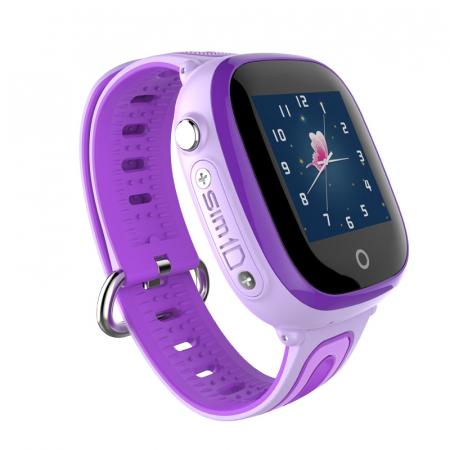 Ceas Smartwatch cu GPS pentru copii, Aplicatie Telefon, Rezistent la Apa IP67, Display 1.22 inch, Functie SOS, Wi-Fi, SMARTIC®, Mov [1]