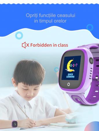 Ceas Smartwatch cu GPS pentru copii, Aplicatie Telefon, Rezistent la Apa IP67, Display 1.22 inch, Functie SOS, Wi-Fi, SMARTIC®, Mov [6]