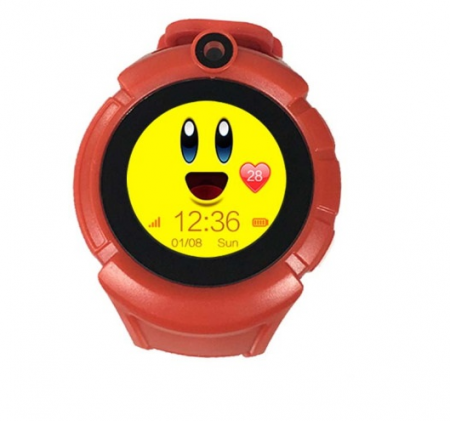 Ceas Smartwatch cu GPS pentru Copii, SMARTIC®, Rosu, Rotund, functie apeluri, localizare GPS, camera foto, zona de siguranta, buton SOS0