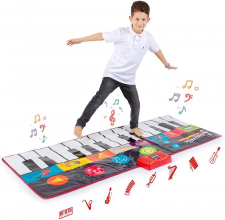 Covor muzical pian cu sunete, 24 taste, volum reglabil, 4 moduri, 181x74 cm, Smartic®, multicolor [6]