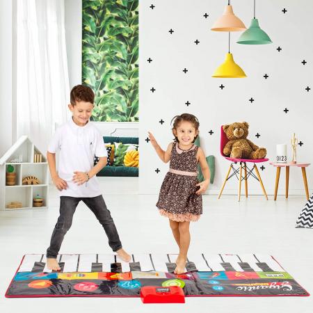 Covor muzical pian cu sunete, 24 taste, volum reglabil, 4 moduri, 181x74 cm, Smartic®, multicolor [5]
