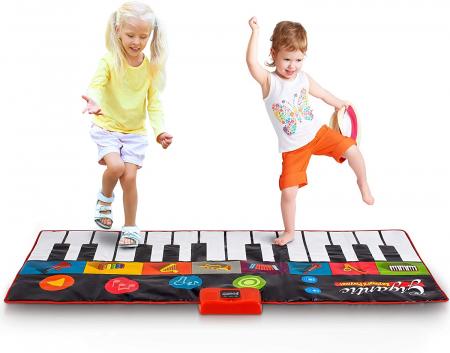 Covor muzical pian cu sunete, 24 taste, volum reglabil, 4 moduri, 181x74 cm, Smartic®, multicolor [2]