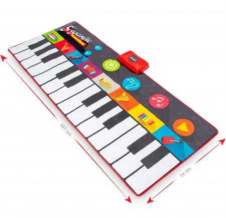 Covor muzical pian cu sunete, 24 taste, volum reglabil, 4 moduri, 181x74 cm, Smartic®, multicolor [3]
