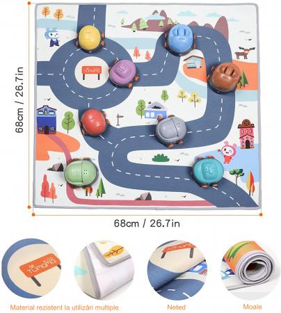 Covoras interactiv si educativ cu masinute, 68x68 cm, material plastic ABS, Tumama®, multicolor [3]