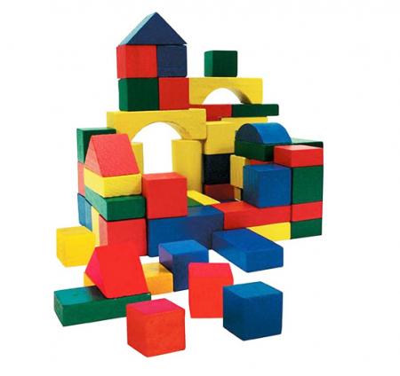 Cuburi colorate din lemn pentru constructii, 50 piese,SMARTIC®, multicolor3