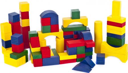 Cuburi colorate din lemn pentru constructii, 50 piese,SMARTIC®, multicolor2