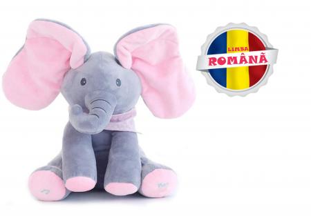 "Elefant Cucu Bau in Limba Romana, Jucarie Interactiva Peek a Boo, vorbeste si canta ""Daca vesel se traieste"", Roz/Gri [0]"