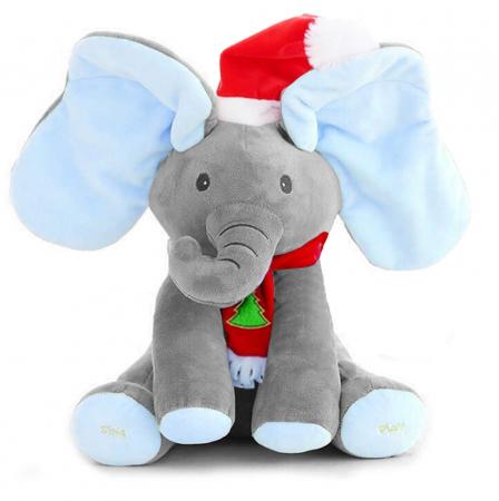 Elefant Cucu Bau, Peek a Boo, canta si vorbeste in Limba Romana - Editie de Craciun - Gri/Albastru [0]