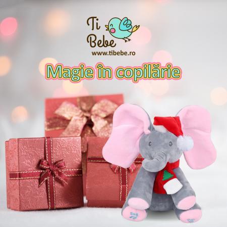 Elefant Cucu Bau, Peek a Boo, canta si vorbeste in Limba Romana - Editie de Craciun - Gri/Roz [8]