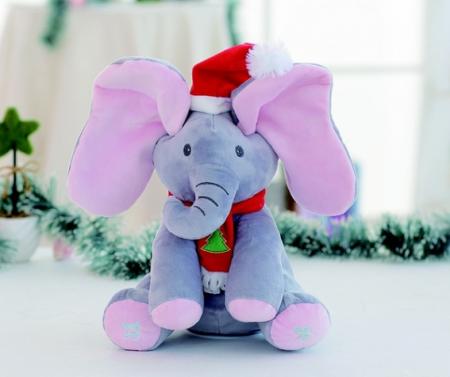 Elefant Cucu Bau, Peek a Boo, canta si vorbeste in Limba Romana - Editie de Craciun - Gri/Roz [1]