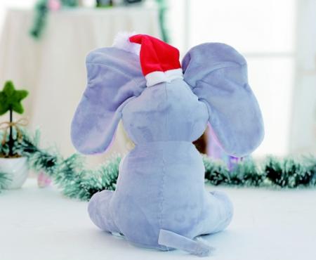 Elefant Cucu Bau, Peek a Boo, canta si vorbeste in Limba Romana - Editie de Craciun - Gri/Roz [6]