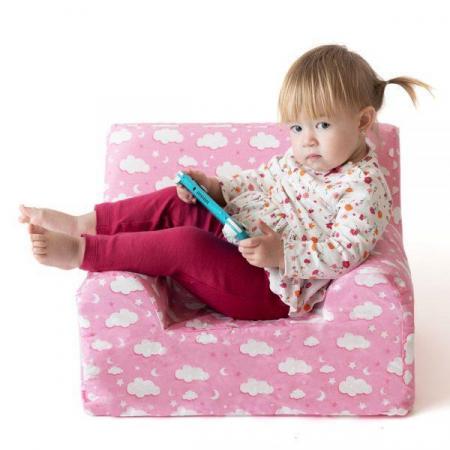 Fotoliu din spuma poliuretanica pentru copii, husa bumbac, varsta recomandata +9 luni, roz [6]