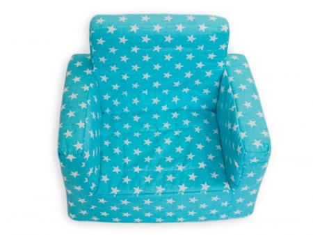 Fotoliu din spuma poliuretanica pentru copii, husa bumbac, varsta recomandata +9 luni, albastru [2]