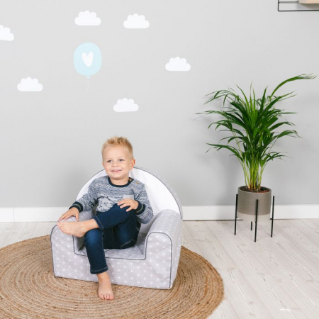 Fotoliu din spuma poliuretanica pentru copii, husa bumbac, varsta recomandata +9 luni, gri [5]