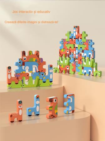 Joc Intercativ 15 piese cu Animale , Material Plastic, Varsta +3 ani, Tumama®, rosu/verde/albastru [9]