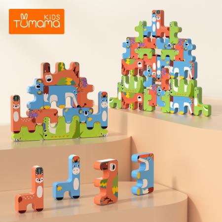 Joc Intercativ 15 piese cu Animale , Material Plastic, Varsta +3 ani, Tumama®, rosu/verde/albastru [1]