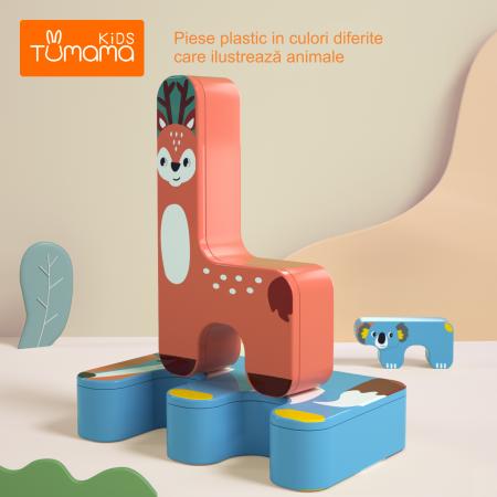 Joc Intercativ 15 piese cu Animale , Material Plastic, Varsta +3 ani, Tumama®, rosu/verde/albastru [4]