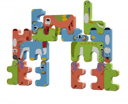 Joc Intercativ 15 piese cu Animale , Material Plastic, Varsta +3 ani, Tumama®, rosu/verde/albastru [0]