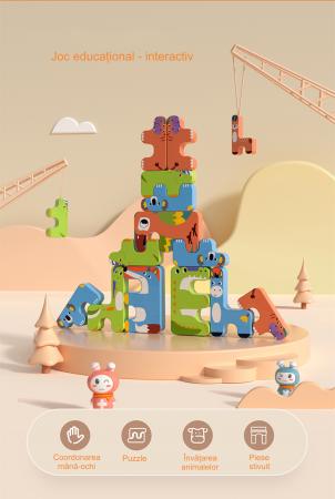 Joc Intercativ 15 piese cu Animale , Material Plastic, Varsta +3 ani, Tumama®, rosu/verde/albastru [7]