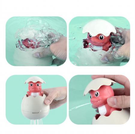 Jucarie de baie educativa si interactiva pentru copii, Dinozaur Cucu-Bau, Smartic®, roz3