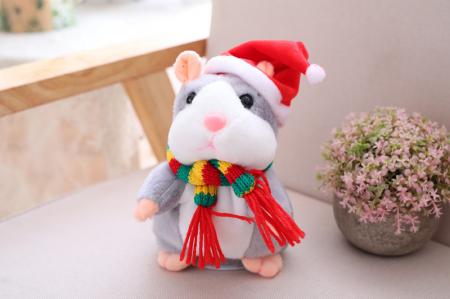 Jucarie Interactiva Copii Hamsterul Vorbitor, Editie de Craciun, Gri [5]