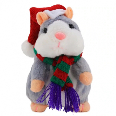 Jucarie Interactiva Copii Hamsterul Vorbitor, Editie de Craciun, Gri0