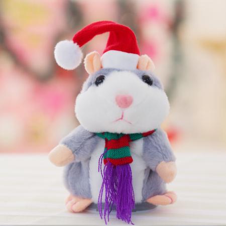 Jucarie Interactiva Copii Hamsterul Vorbitor, Editie de Craciun, Gri4