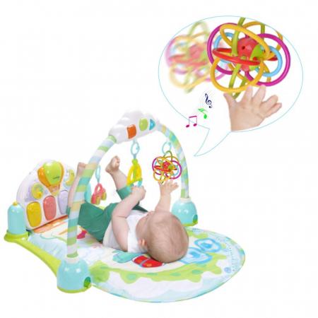 Jucarie Interactiva Educationala Zornaitoare pentru bebelusi, Design Labirint din Silicon, varsta + 3 luni, Tumama®, multicolor [9]