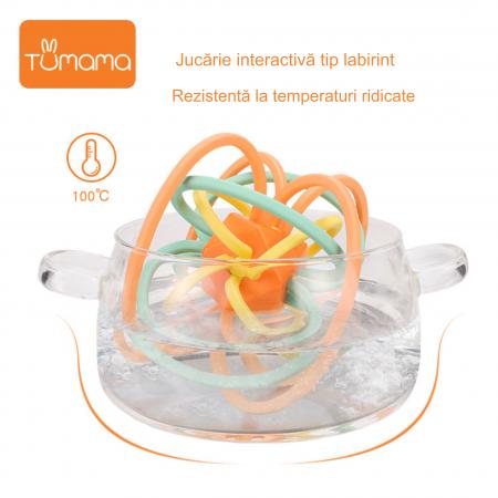 Jucarie Interactiva Educationala Zornaitoare pentru bebelusi, Design Labirint din Silicon, varsta + 3 luni, Tumama®, multicolor [8]