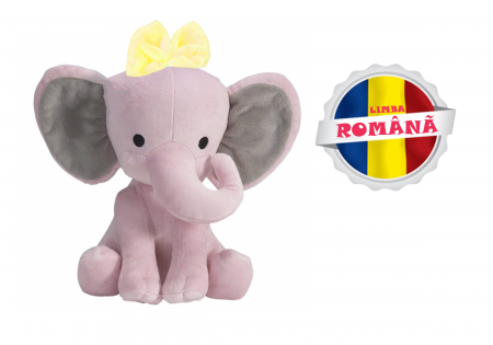 "Jucarie interactiva Elefant Cucu Bau cu fundita in Limba Romana, vorbeste si canta ""Daca vesel se traieste"", Smartic®, roz [0]"