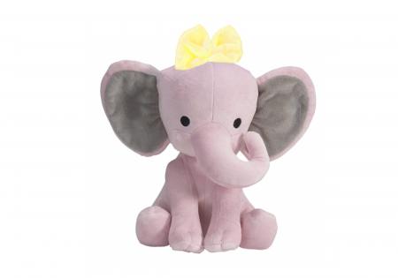 "Jucarie interactiva Elefant Cucu Bau cu fundita in Limba Romana, vorbeste si canta ""Daca vesel se traieste"", Smartic®, roz [1]"