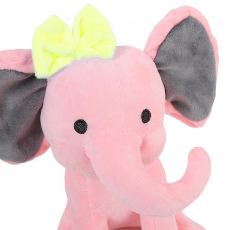 "Jucarie interactiva Elefant Cucu Bau cu fundita in Limba Romana, vorbeste si canta ""Daca vesel se traieste"", Smartic®, roz [3]"