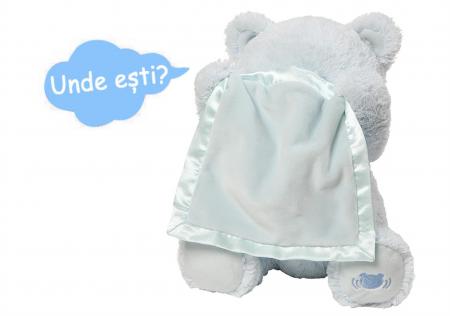 Jucarie interactiva, Ursulet de plus Cucu Bau, Peek a Boo, vorbeste in Limba Romana, Smartic®, albastru [4]