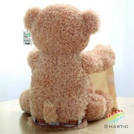Jucarie interactiva, Ursulet de plus Cucu Bau, Peek a Boo, vorbeste in Limba Romana, Smartic®, crem [7]