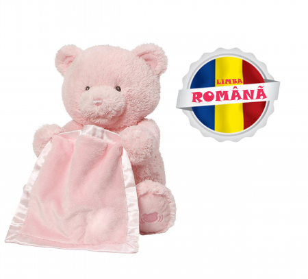 Jucarie interactiva, Ursulet de plus Cucu Bau, Peek a Boo, vorbeste in Limba Romana, Smartic®, roz [0]