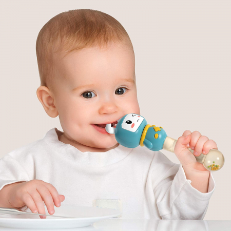 Jucarie interactiva zornaitoare pentru copii si bebelusi Maracas, cu sunete si lumini, design Iepuras, plastic/silicon, varsta +6 luni, Tumama®, albastru [1]