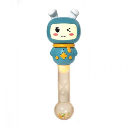Jucarie interactiva zornaitoare pentru copii si bebelusi Maracas, cu sunete si lumini, design Iepuras, plastic/silicon, varsta +6 luni, Tumama®, albastru [0]