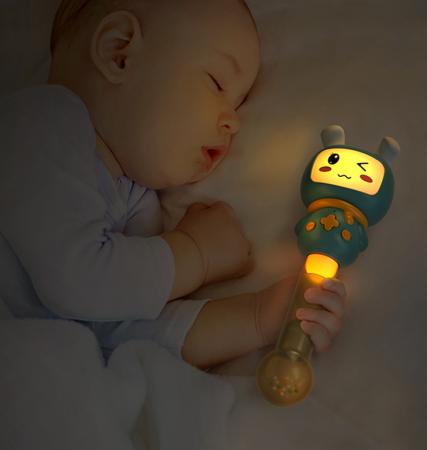 Jucarie interactiva zornaitoare pentru copii si bebelusi Maracas, cu sunete si lumini, design Iepuras, plastic/silicon, varsta +6 luni, Tumama®, albastru [3]