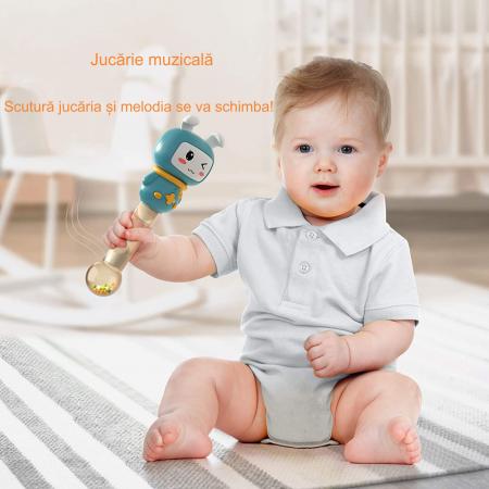 Jucarie interactiva zornaitoare pentru copii si bebelusi Maracas, cu sunete si lumini, design Iepuras, plastic/silicon, varsta +6 luni, Tumama®, albastru [8]