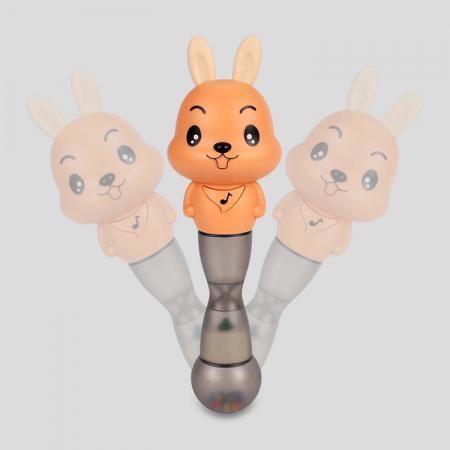 Jucarie muzicala electronica Maracas in forma de iepuras, cu zornaitoare, pentru copii si bebelusi, portocaliu2