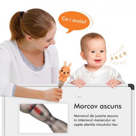 Jucarie muzicala electronica Maracas in forma de iepuras, cu zornaitoare, pentru copii si bebelusi, portocaliu4