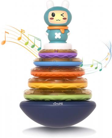 Jucarie muzicala interactiva zornaitoare 3 in 1, tip piramida, 5 cercuri multicolore, design Iepuras, Tumama®, multicolor1