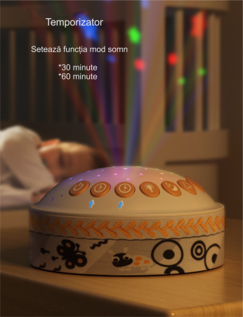 Lampa de veghe pentru copii si bebelusi, cu sunete si variatii de culori, control telecomanda, Tumama®, alb [3]