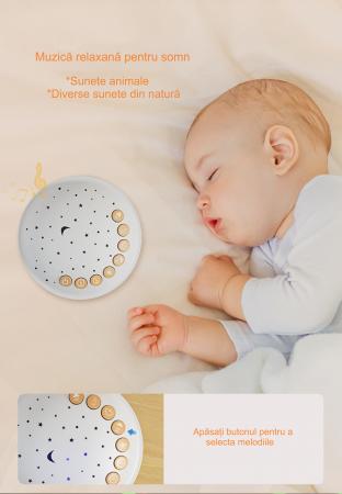 Lampa de veghe pentru copii si bebelusi, cu sunete si variatii de culori, control telecomanda, Tumama®, alb [7]