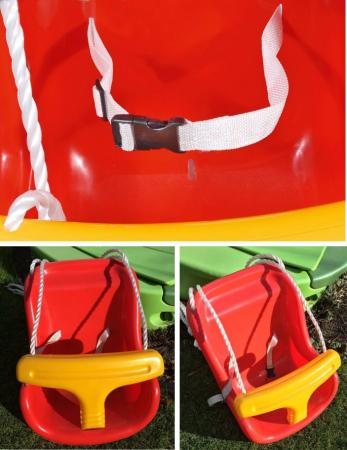 Leagan pentru copii Smartic, cu cadru metalic si sistem de siguranta, rosu/galben [3]
