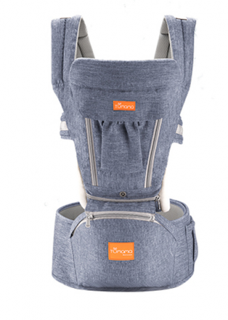 Marsupiu ergonomic 3 in 1 Tumama®, pentru bebelusi, bumbac organic, 0 – 36 luni, cu scaunel detasabil, albastru0