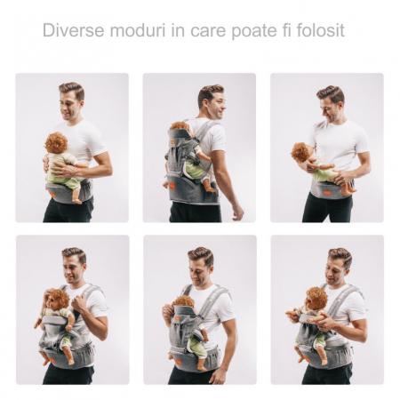 Marsupiu ergonomic 3 in 1 Tumama®,pentru bebelusi, din bumbac organic, 0 – 36 luni, cu scaunel detasabil, gri3