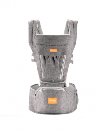 Marsupiu ergonomic 3 in 1 Tumama®,pentru bebelusi, din bumbac organic, 0 – 36 luni, cu scaunel detasabil, gri0