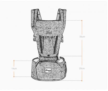 Marsupiu ergonomic 3 in 1 Tumama®,pentru bebelusi, din bumbac organic, 0 – 36 luni, cu scaunel detasabil, gri5